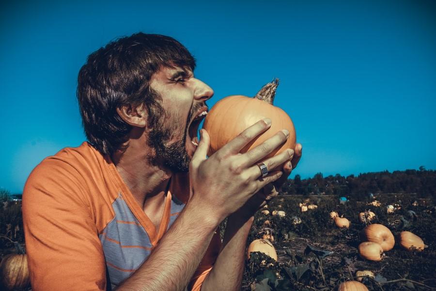 uomo cerca di mangiare una zucca intera